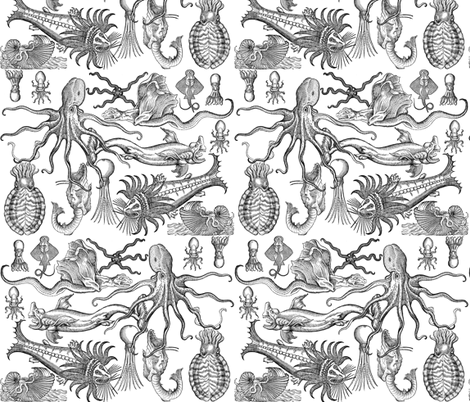 Antique Horrors of the Deep  fabric by jenithea on Spoonflower - for a summer bag? Or maybe a skirt?