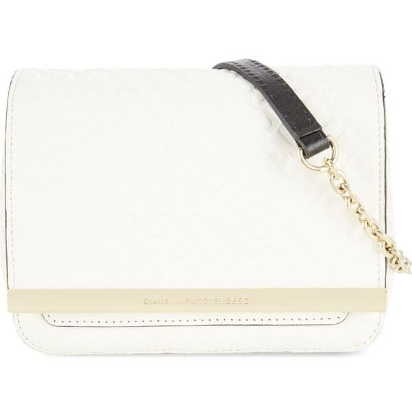 DIANE VON FURSTENBERG Embossed micro messenger bag (€190) ❤ liked on Polyvore featuring bags, messenger bags, white, leather pouch, embossed bag, courier bag, leather courier bag and white messenger bag