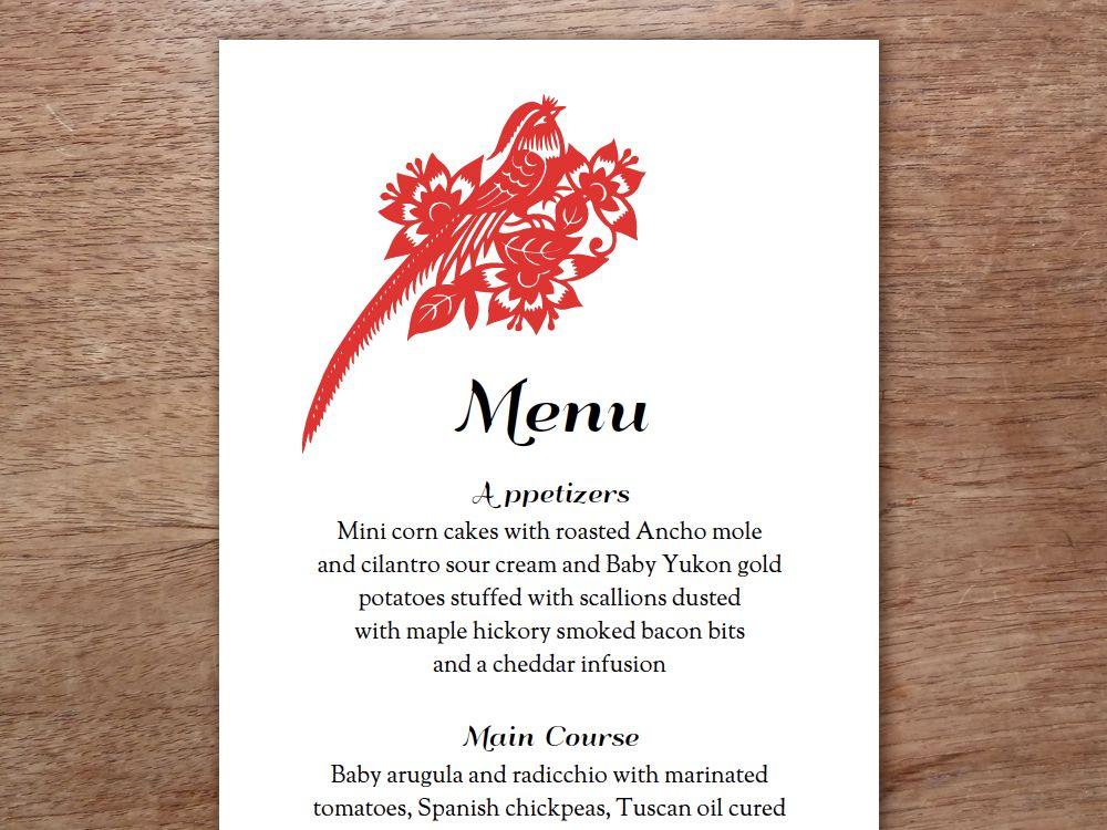 Printable Menu - Gong Xi | Pinterest | Wedding menu template, Menu ...