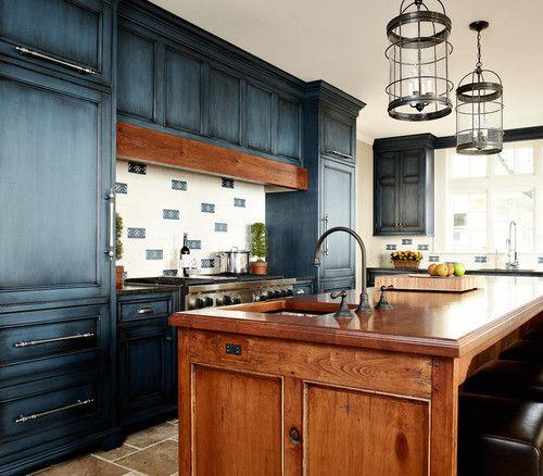 Dressed Up Denim Decor | Distressed kitchen cabinets ...
