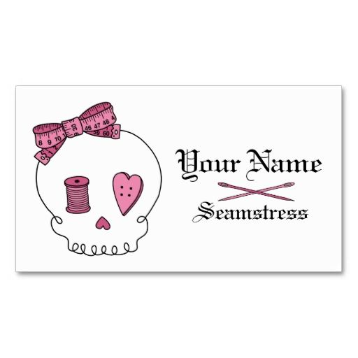Sewing skull pink business card business cards card templates sewing skull pink business card colourmoves