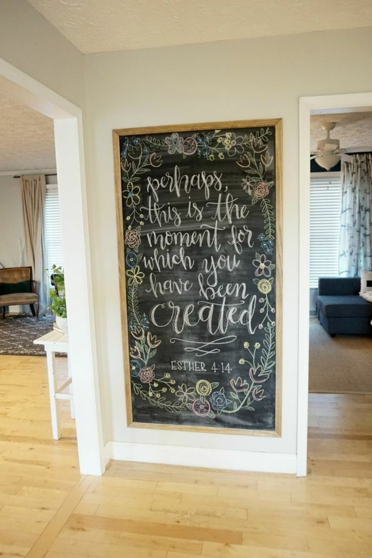 wandgestaltung-ideen-flur-deko-tafel-parkett | Tafellack | Pinterest ...