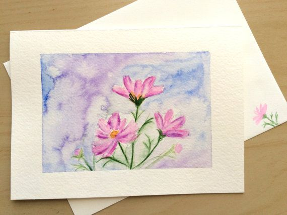 Hand painted greeting card 5x7 pink cosmos blank by cardwithheart hand painted greeting card 5x7 pink cosmos blank by cardwithheart m4hsunfo
