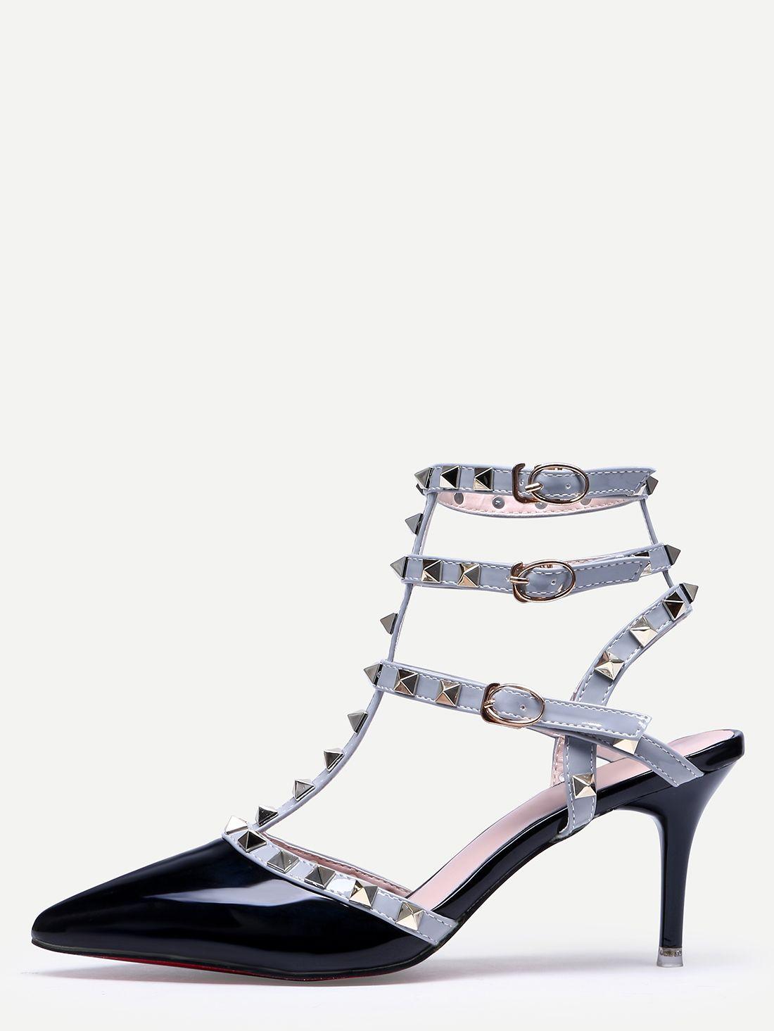 67baa3dfc5cd Black Pointed Toe Buckle Strap Studded Stiletto Heels -SheIn(Sheinside)