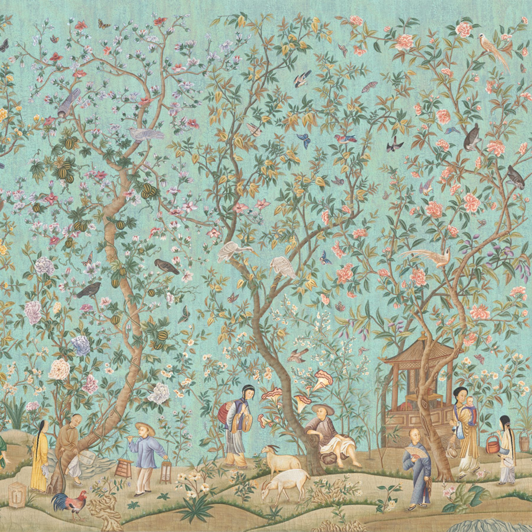 Wallpaper panel, Qialong Garden , Crackled Turquoise by Iksel for Schumacher