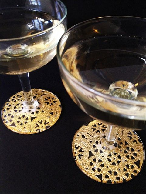 Gilded Lace Wine Glasses