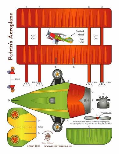 Free biplane template printable by The Toy Maker