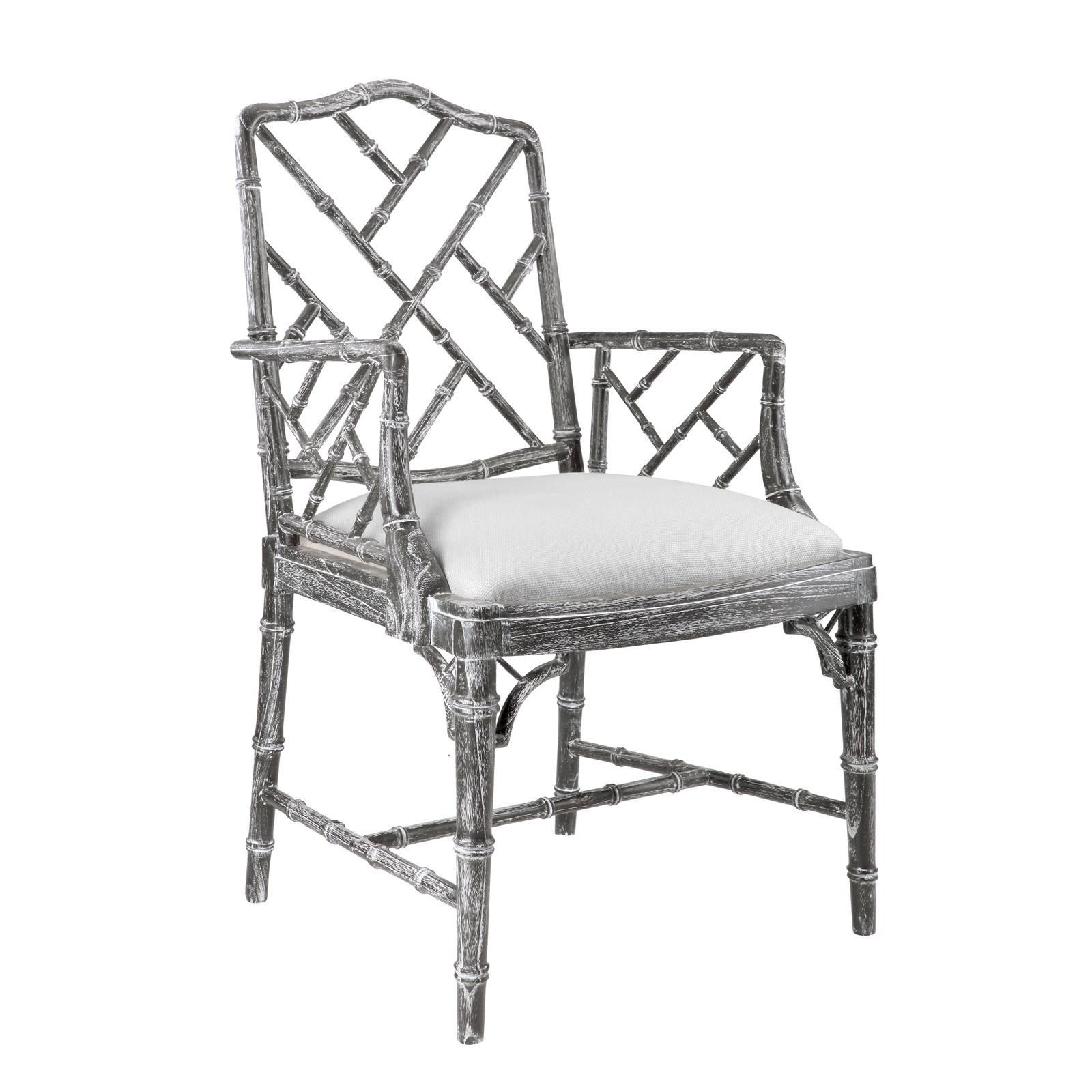 Bungalow 5 Quay Faux Bamboo Chippendale Arm Chair in Gray