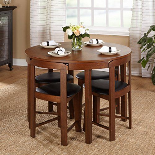 Midcentury Tobey Walnut Compact Dining Set 5 Piece In Black Faux Leather Upholstered Seats Angled Chai Round Dining Room Kitchen Table Settings Dining Room Bar