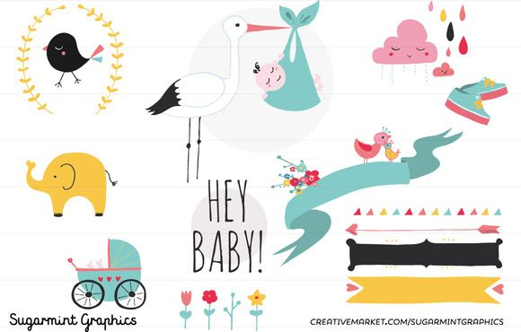 Baby Shower Clip Art Cute Kawai By Sugarmintgraphics On