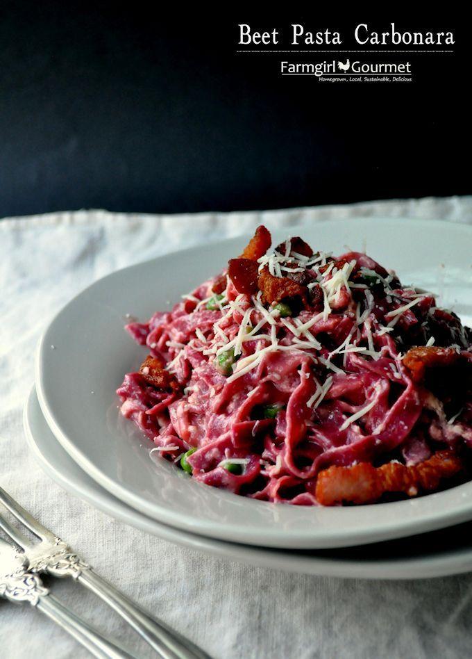 Farmgirl Gourmet: Delicious Recipes for the Home Cook.: Beet Pasta Carbonara with Peas & Bacon