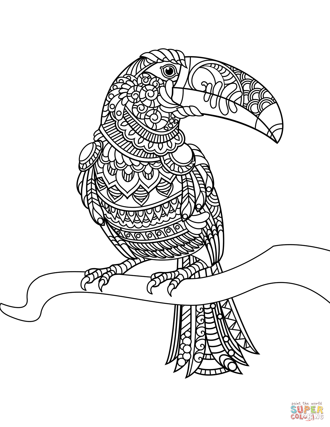 toucan zentangle | super coloring | bird coloring pages
