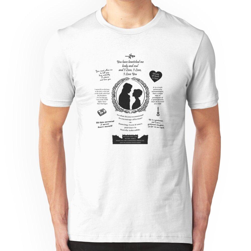 Pride and Prejudice Elizabeth and Darcy Iconic Quotes Silhouette Design  Slim Fit T-Shirt #prideandprejudice