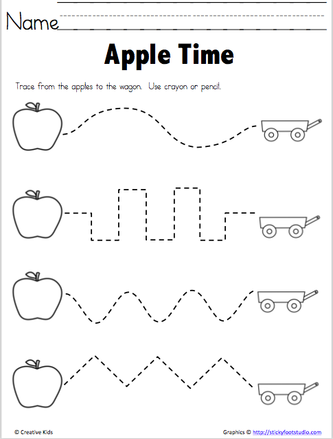 free fine motor tracing practice for apple season kindergarten fall preschool apple. Black Bedroom Furniture Sets. Home Design Ideas