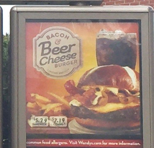 Wendy S Bacon Beer Cheese Burger Beer Bacon Fast Casual Restaurant Fast Food Items