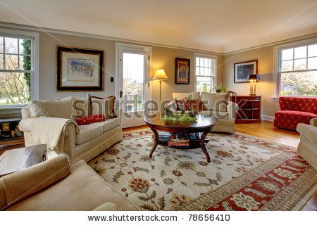 Beige Red Transitional Living Room
