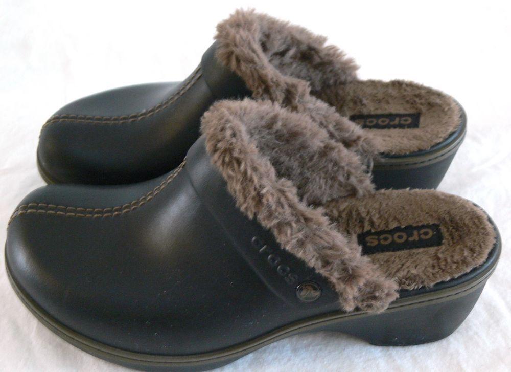 Crocs slip on suede faux fur black women ladies shoes size 9  clogs