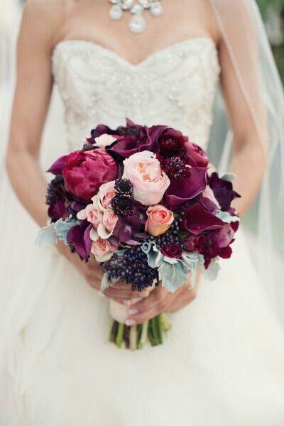 Bridal Bouquet Composed Of Sangria Peonies Purple Callas Pink Roses Dark