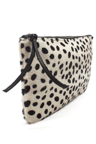 Spotted Cowhide Clutch