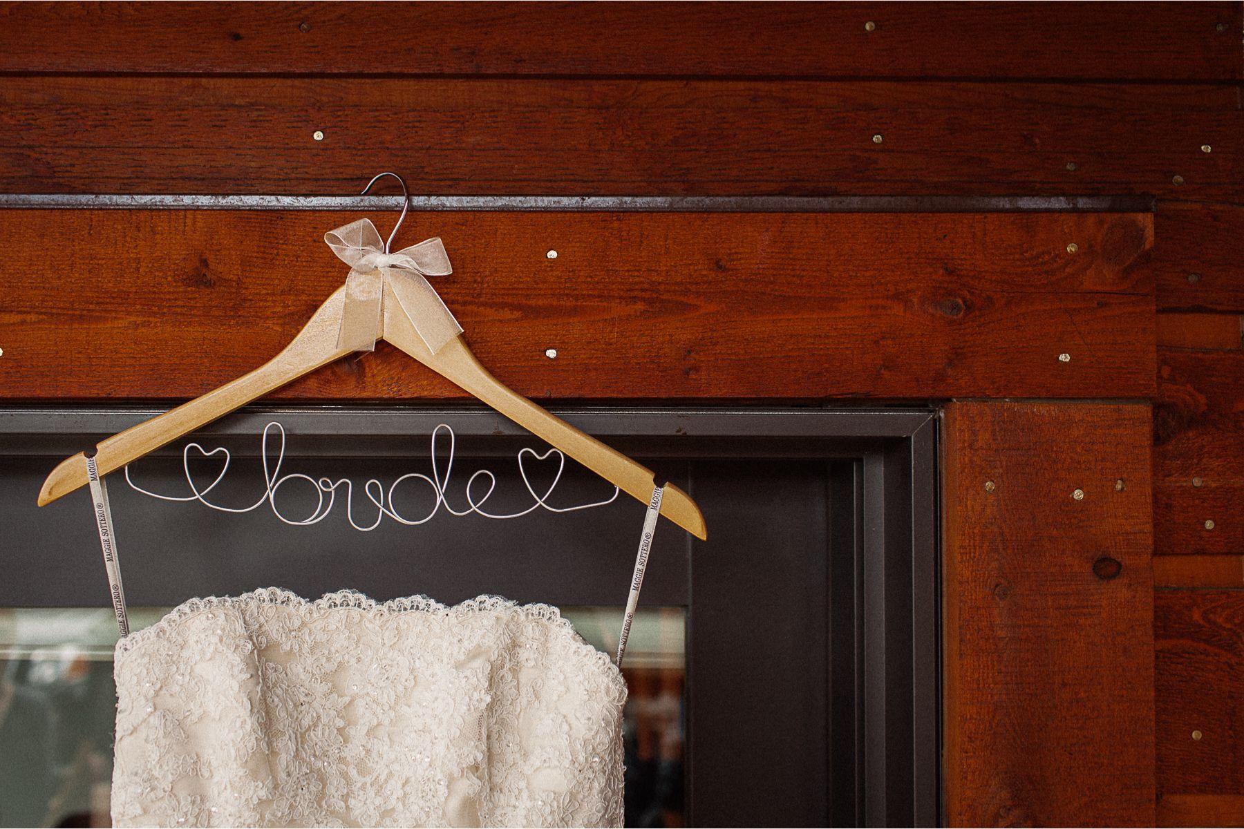 Custom Wedding Dress Hanger // Wedding Photography in Estes Park, Colorado // www.nicksparksweddings.com // Nick Sparks Wedding Photographer
