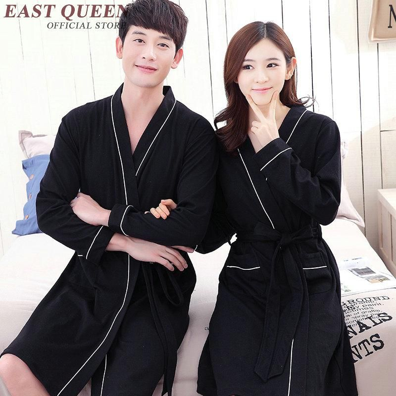d4dcb02f02 Long sleeve male sleepwear robe male woman unisex bath robe couples bathrobe  solid color lovers sleepwear