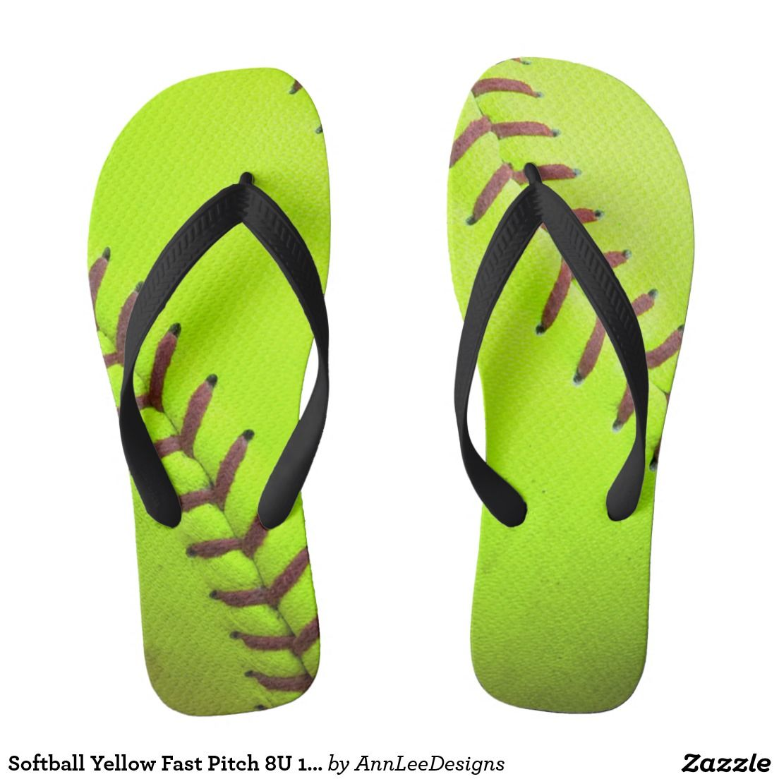 99683058f085 Softball Yellow Fast Pitch 8U 10 Flip Flop Sandals Flip Flops