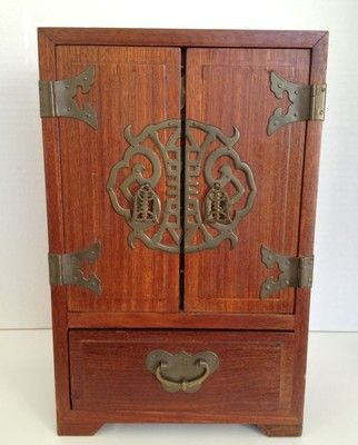 Asian Jewelry Armoire Chest Box Mahogany Oriental Brass Handles 5