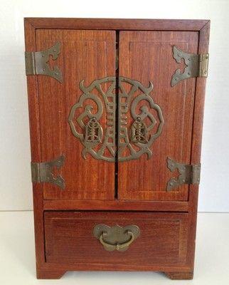 Asian Jewelry Armoire Chest Box Mahogany Oriental Brass Handles 5 ...