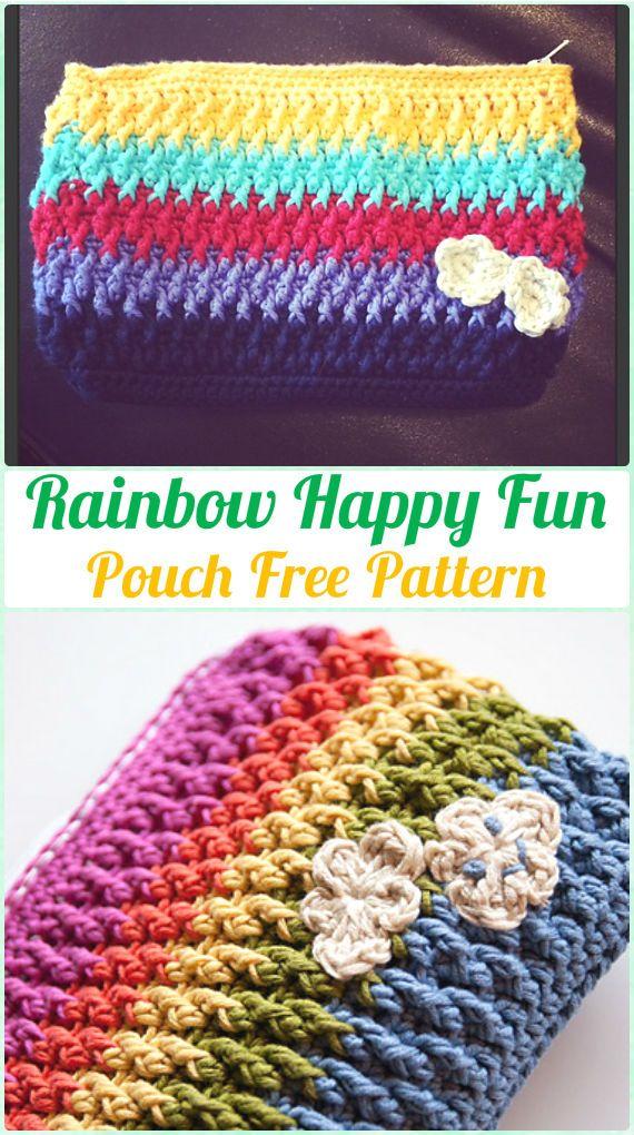 Crochet Rainbow Happy Fun Pouch Free Pattern - Crochet Clutch Bag ...