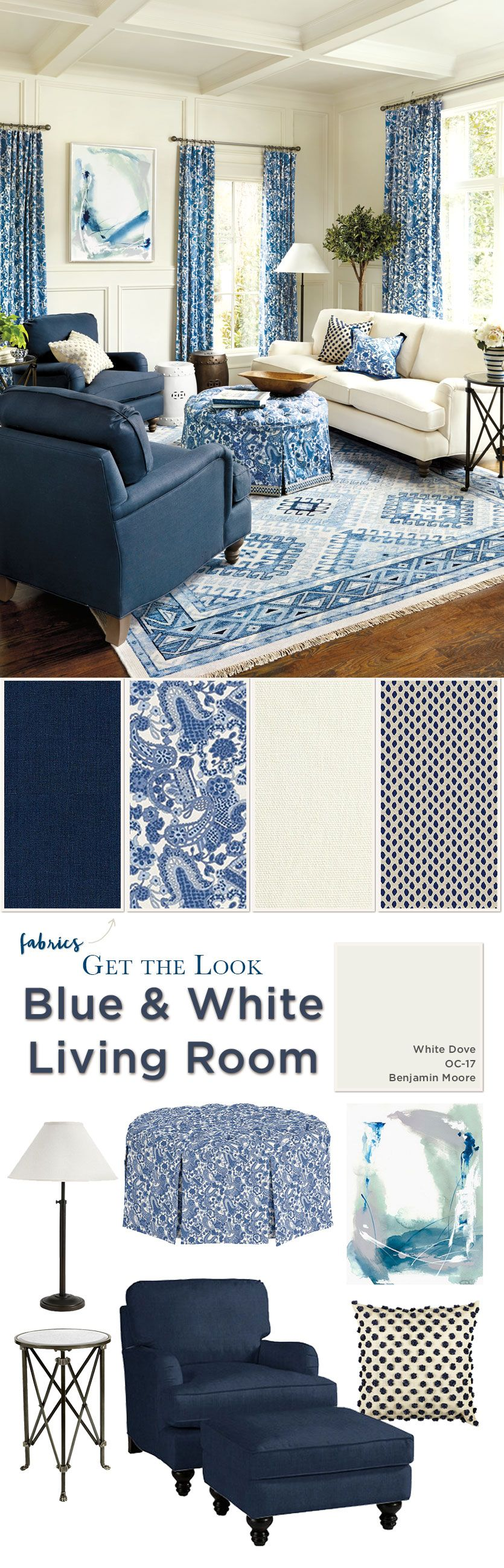 Blue and white living room - Room Get The Look Of This Blue And White Living