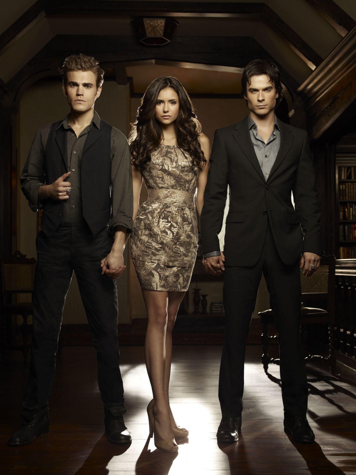 1498x2000 THE VAMPIRE DIARIES wallpaper photo Stefan, Elena and Damon