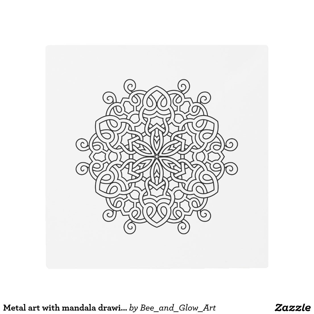 Metal art with mandala drawing
