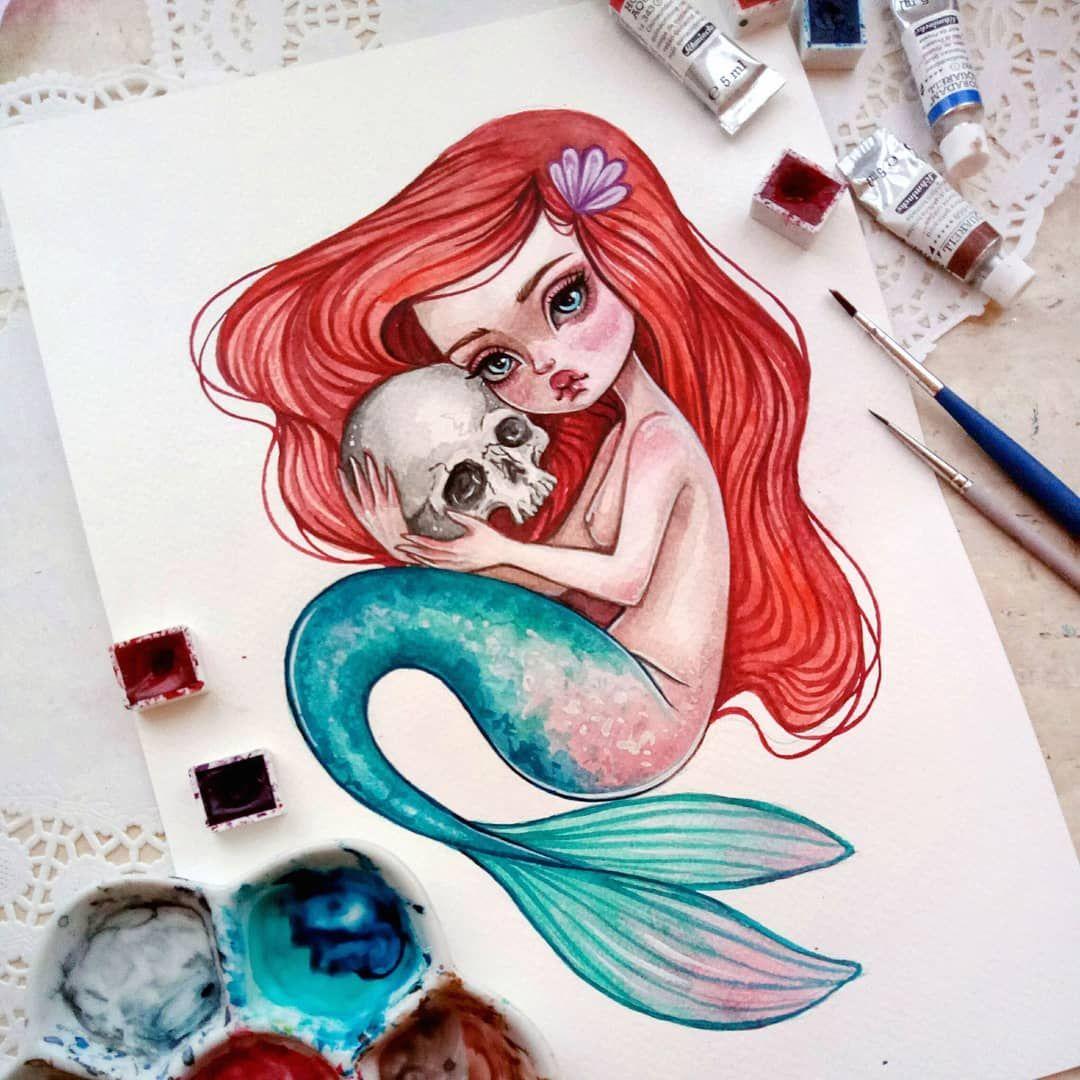 My Favorite Ariel This Original Watercolor Is Already Available In My Etsy Link In Profile Mermaid Mer Disney Art Disney Art Drawings Watercolor Disney