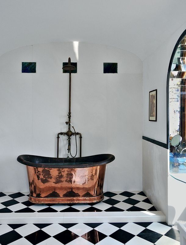 Great Combination Copper Bath And Black And White Tile Bathtub