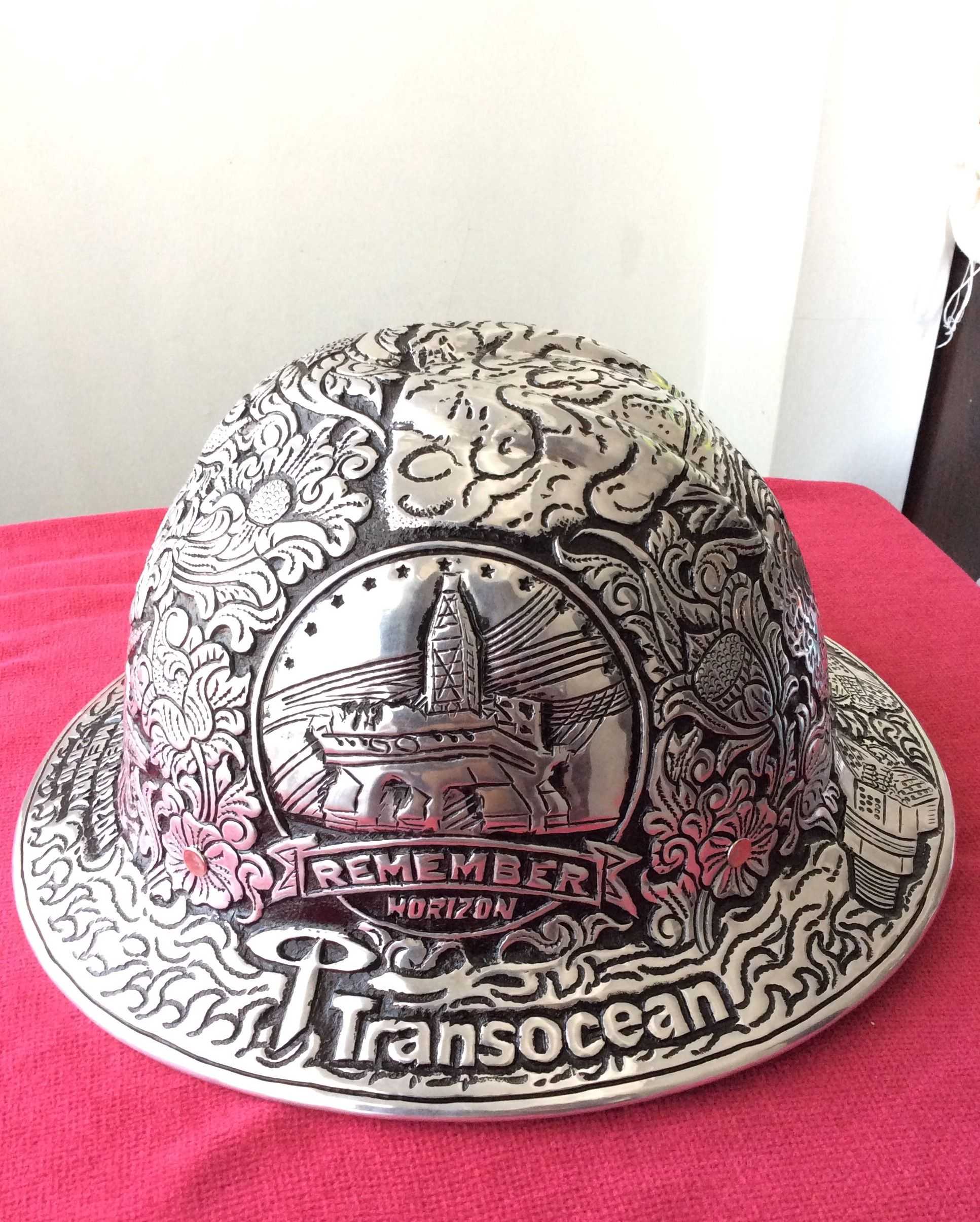 0c5e726a33f Remember  DeepwaterHorizon  Rig Engraved metal  hardhat for souvenirs