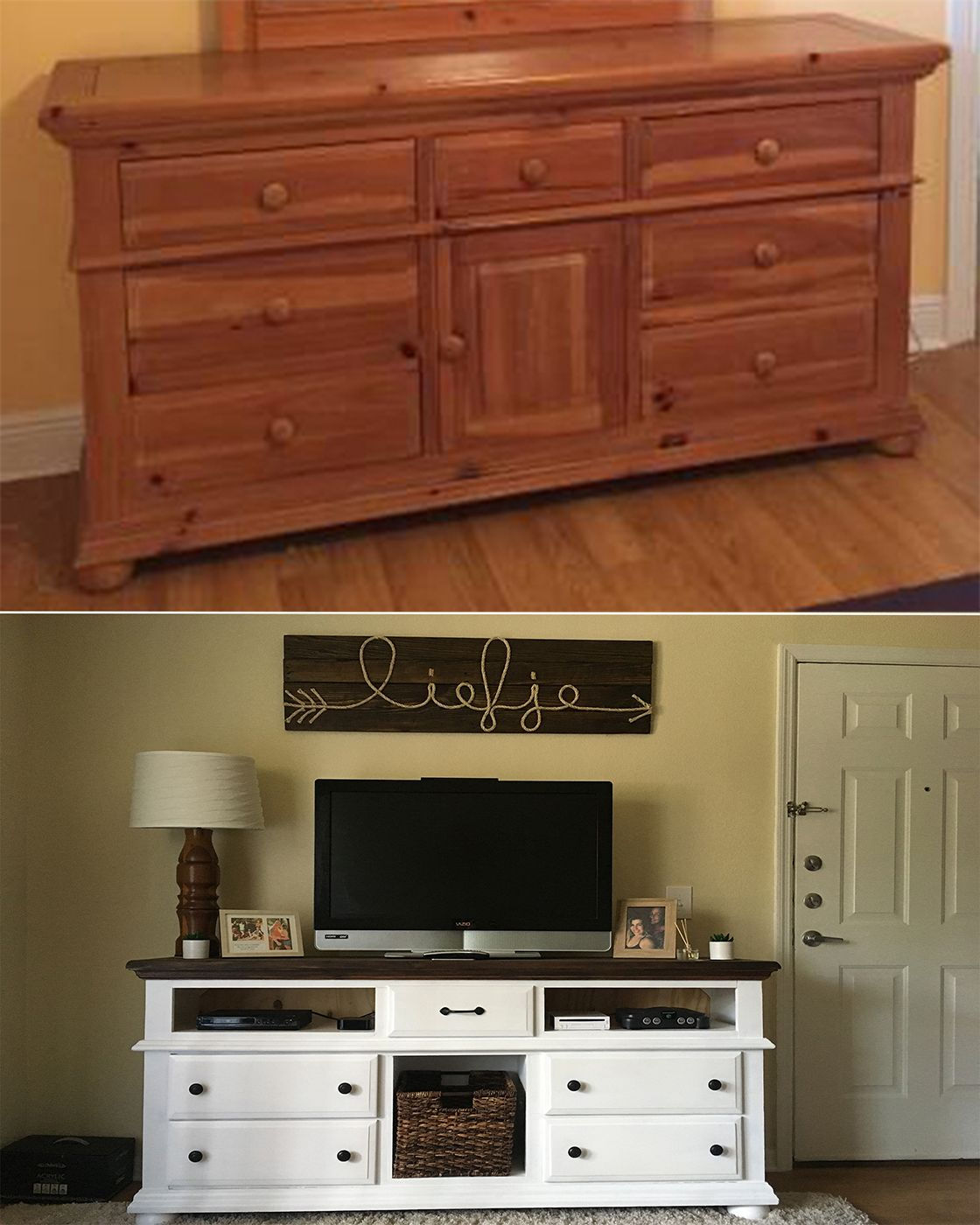 Best Broyhill Dresser Made Into A Tv Stand White With Dark 400 x 300
