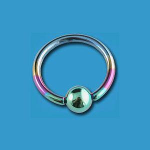 Rainbow Titanium Captive Bead Ring 16 ga. Buy today at www.bodyjewelrypiercing.com. #beadrings #bodyrings #captivebeadrings #bodyjewelry #bodypiercing #piercingjewelry #piercingfashion