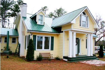 Yellow House With Green Roof Yellow House Exterior Green Roof House House Paint Exterior