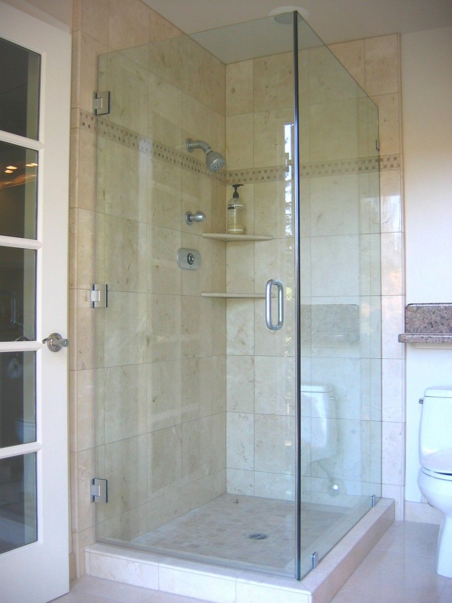 Bathroom interesting design of corner shower doors glass for Bathroom door ideas