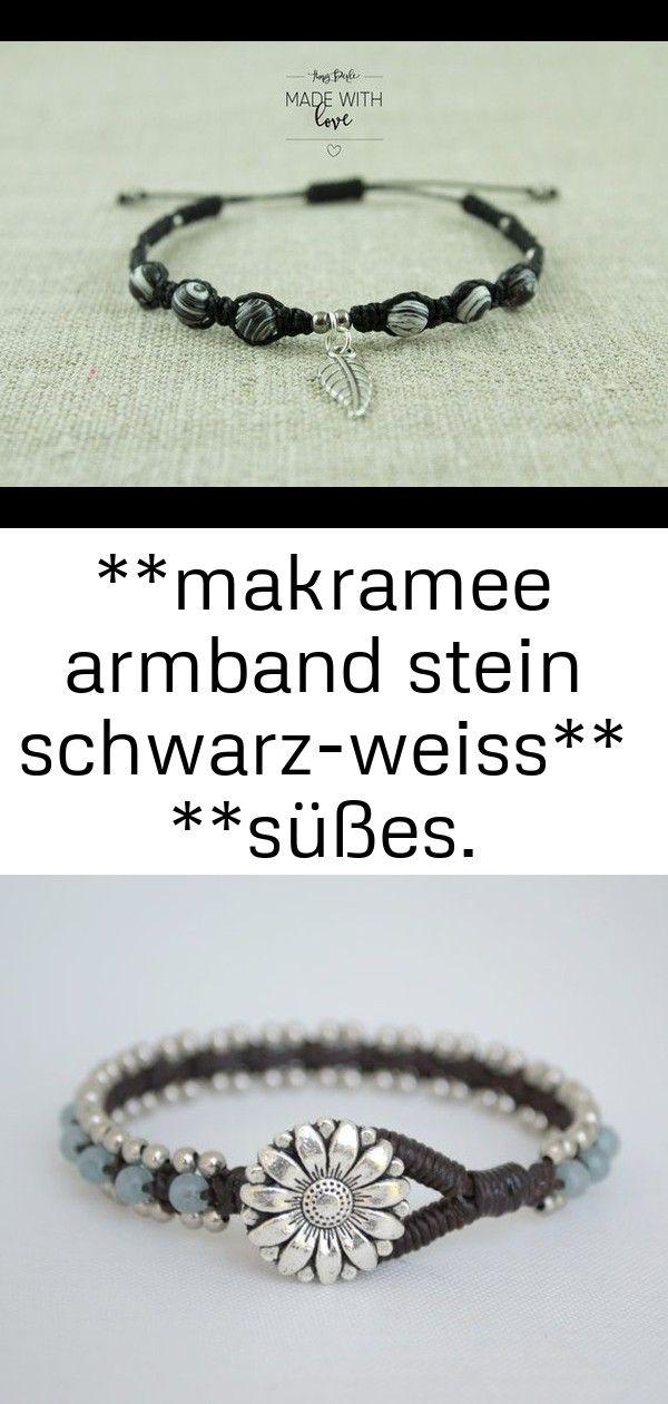 makramee armband stein schwarzweiss süßes makramee armband mit schwarzweißen steinperlen 6 Makramee Armband Stein schwarzweiss Süßes Makramee...