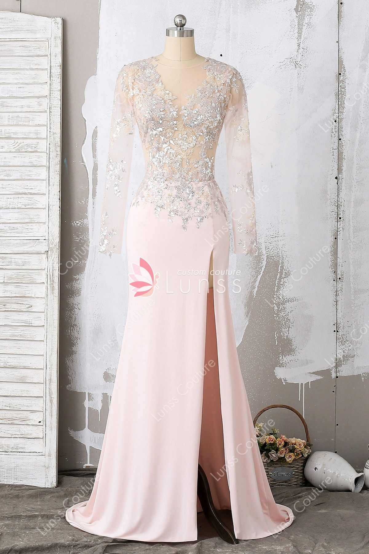 Blush sequin applique long sleeve mermaid prom dress