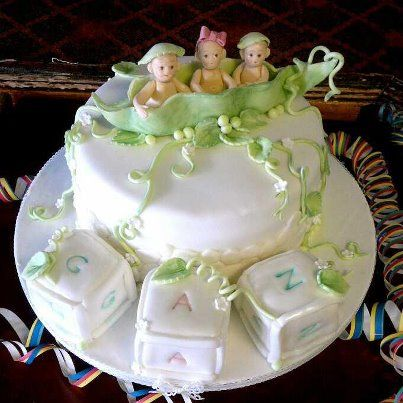 Triplets Christening Cake With Images Cake Creations