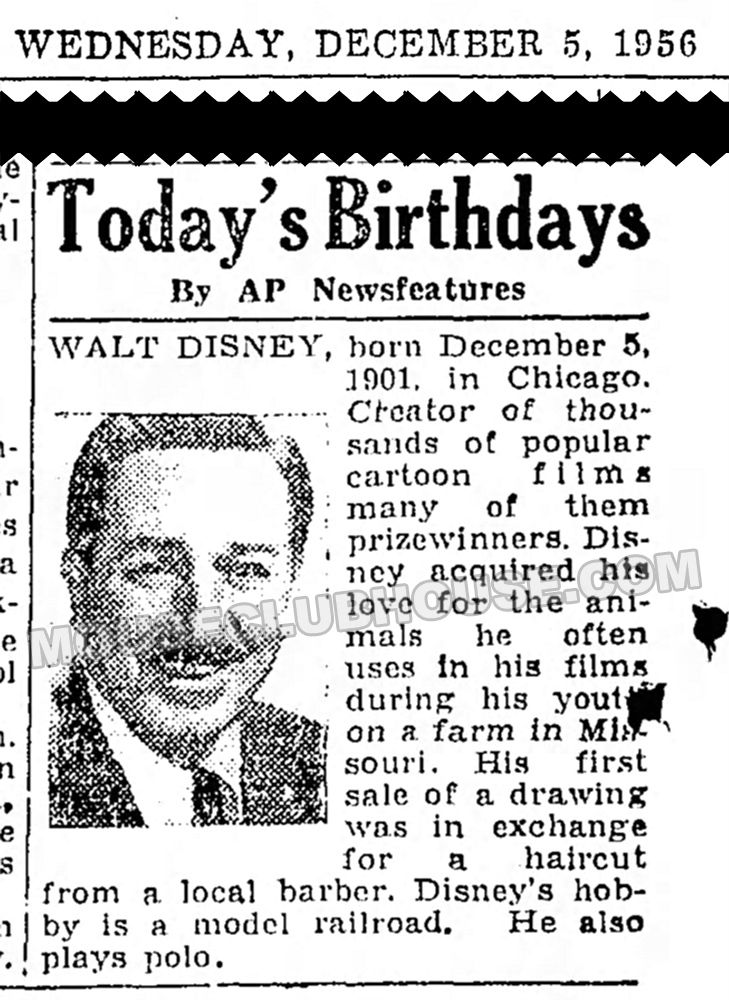 For Walt Disney S Birthday Today Here S A Newspaper Clipping Form
