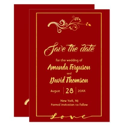 Save the date red background and faux gold decor save the date red background and faux gold decor card wedding invitations cards custom invitation stopboris Choice Image