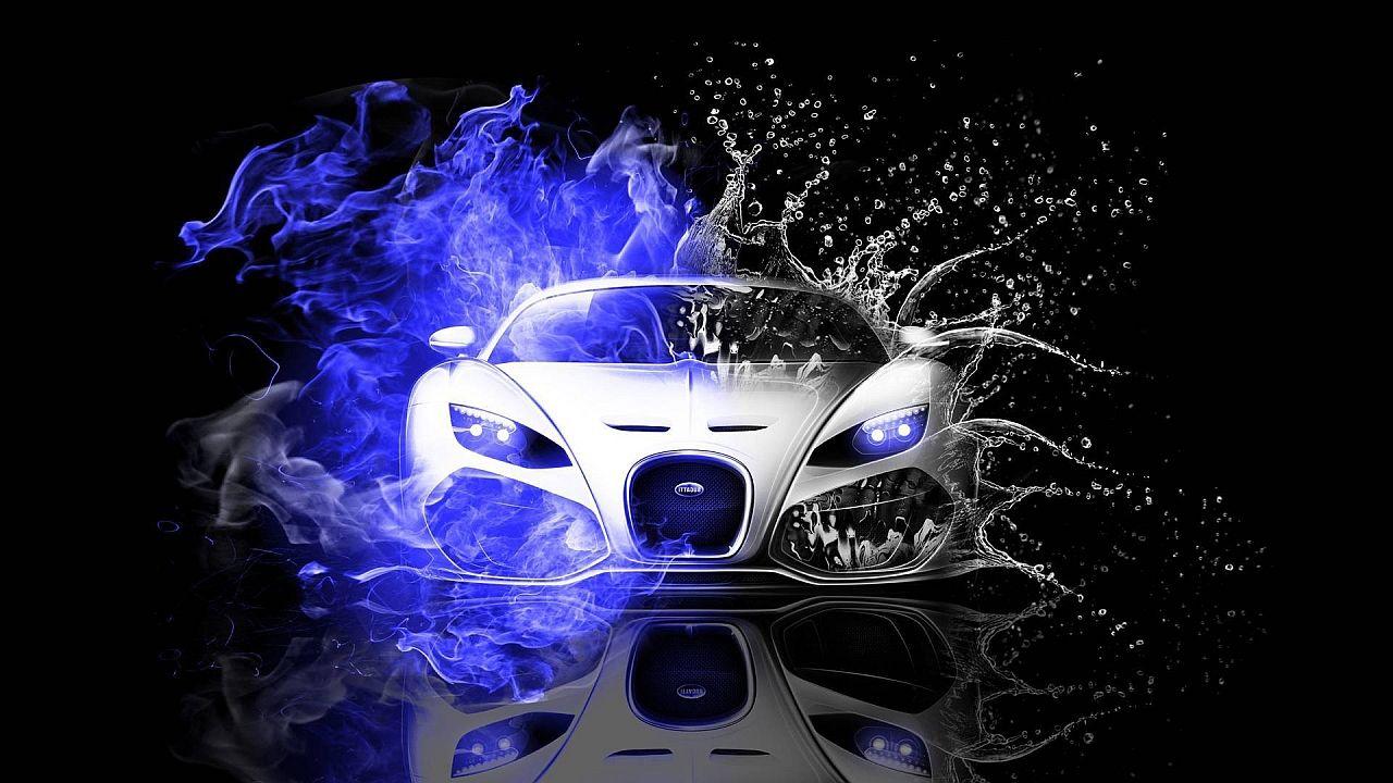 Bugatti Veyron Blue Fire Sports Car Wallpaper Car Wallpapers Bugatti Wallpapers