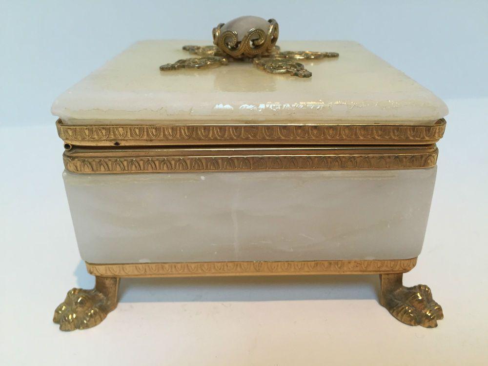 Cerri Nestore Volterra Italy Alabaster Box Brass Claw Feet