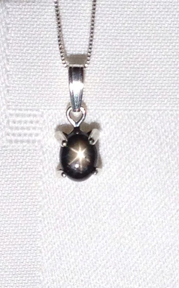 Black star sapphire sterling silver necklace sapphire necklace black star sapphire sterling silver necklace sapphire necklace black star sapphire jewelry black solitaire necklace sapphire pendant aloadofball Choice Image