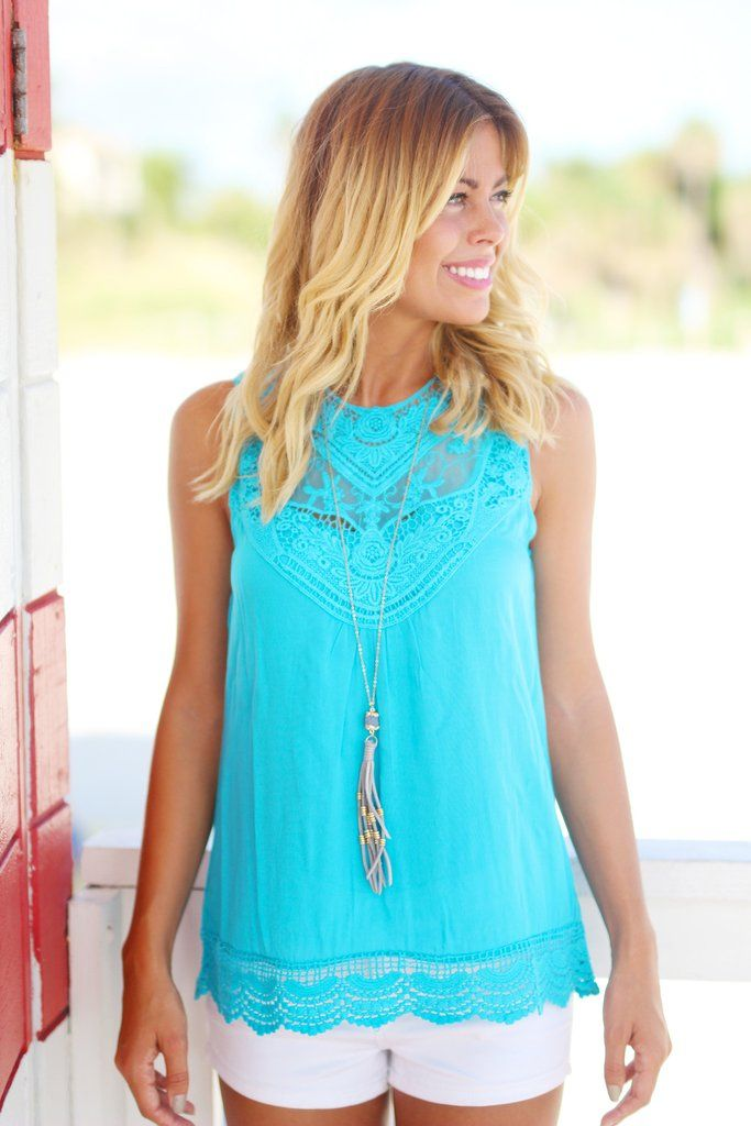 Turquoise Lace Top