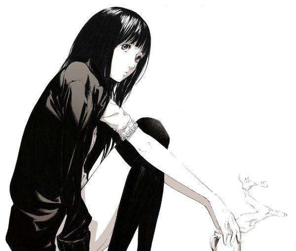Anime Picture 1000x850 With Original Sawasawa Long Hair Single Black Hair Simple Background White Sitting Anime Image Illustration Story