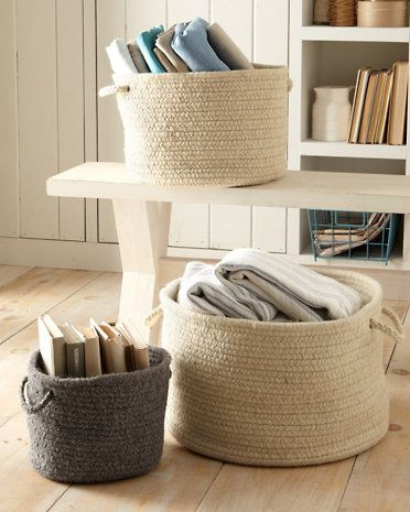 Captivating Love These For Nursery And Other Places...Braided Wool Storage Basket